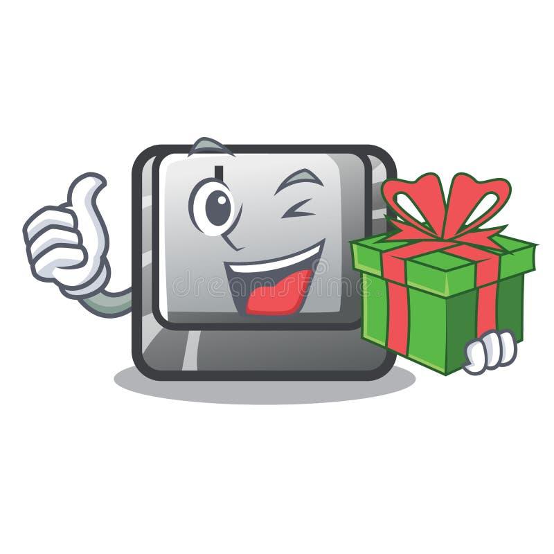 Con il bottone I del regalo nel gioco del fumetto illustrazione di stock