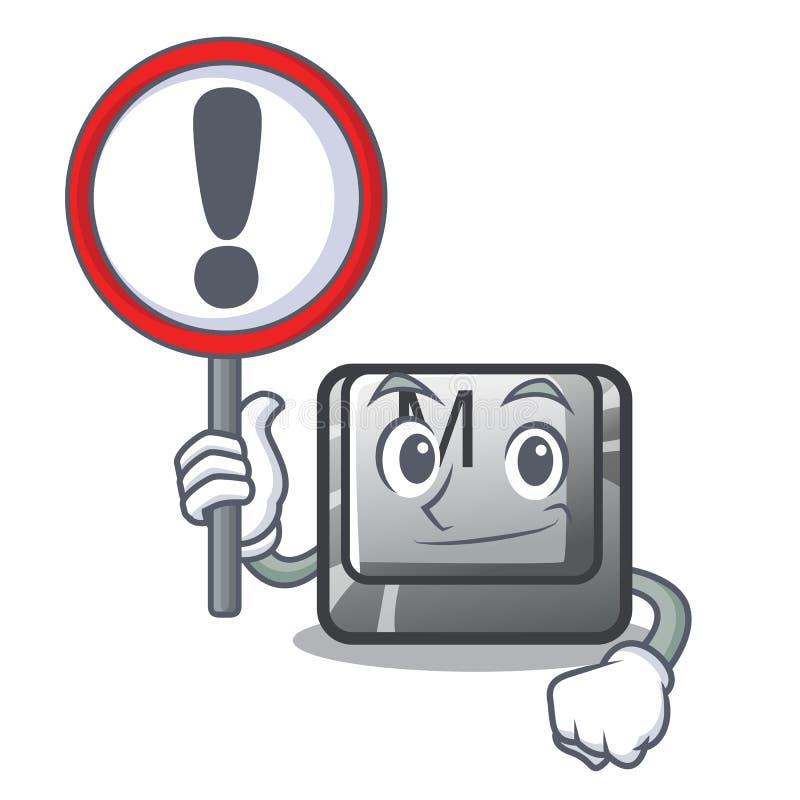 Con il bottone m. del segno su una mascotte della tastiera royalty illustrazione gratis