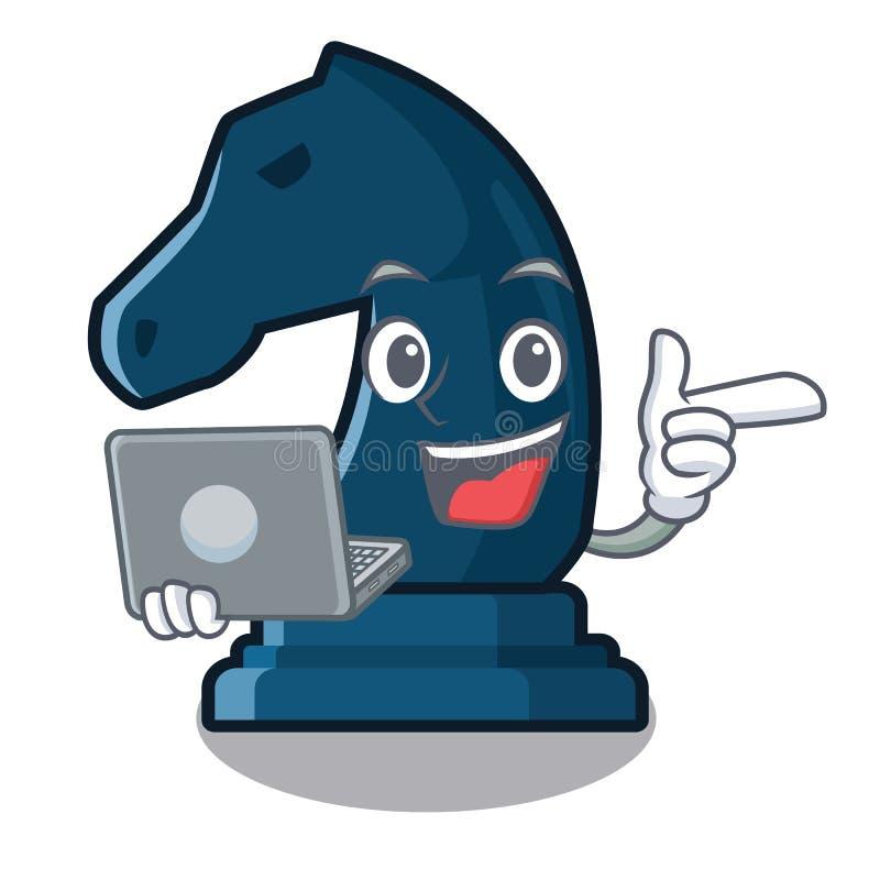 Con il cavaliere di scacchi del computer portatile nella forma della mascotte illustrazione di stock