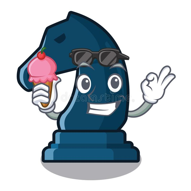 Con il cavaliere di scacchi del gelato accanto alla tavola del fumetto illustrazione di stock