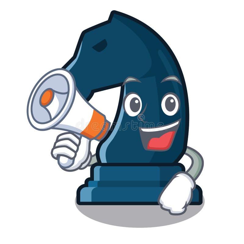 Con il cavaliere di scacchi del megafono nella forma della mascotte illustrazione di stock