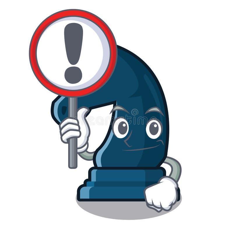 Con il cavaliere di scacchi del segno nella forma della mascotte illustrazione vettoriale
