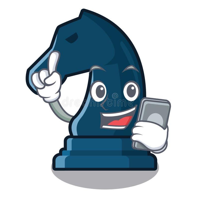 Con il cavaliere di scacchi del telefono nella forma della mascotte illustrazione di stock