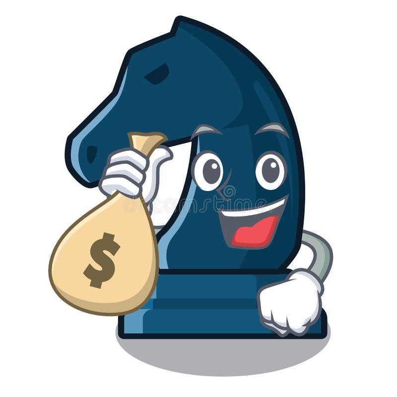 Con il cavaliere di scacchi della borsa dei soldi nella forma della mascotte illustrazione di stock