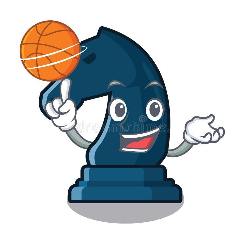 Con il cavaliere di scacchi di pallacanestro nella forma della mascotte illustrazione vettoriale