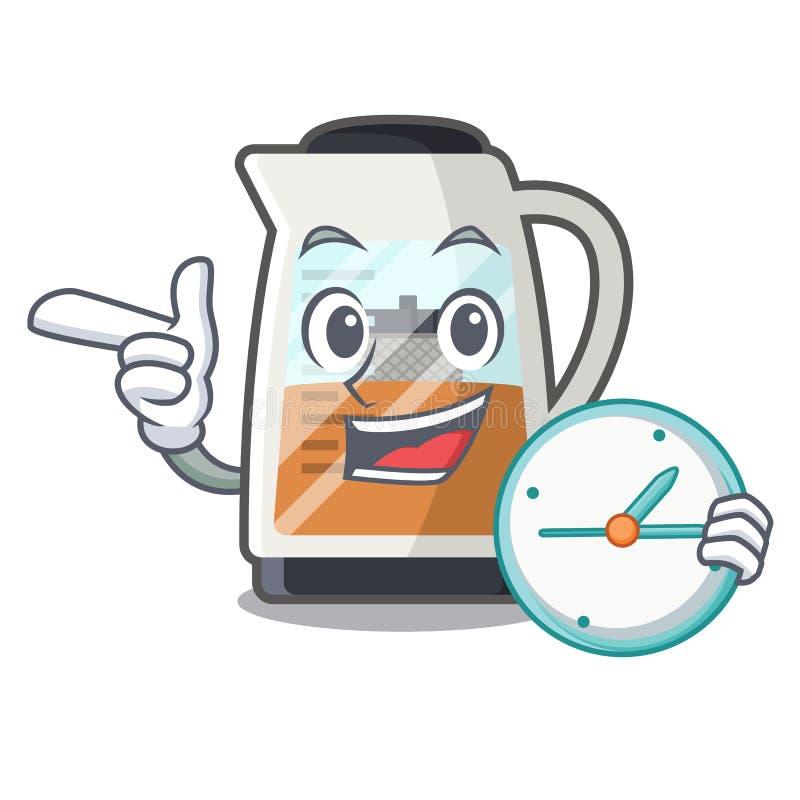 Con il creatore di tè dell'orologio nella forma del fumetto illustrazione di stock