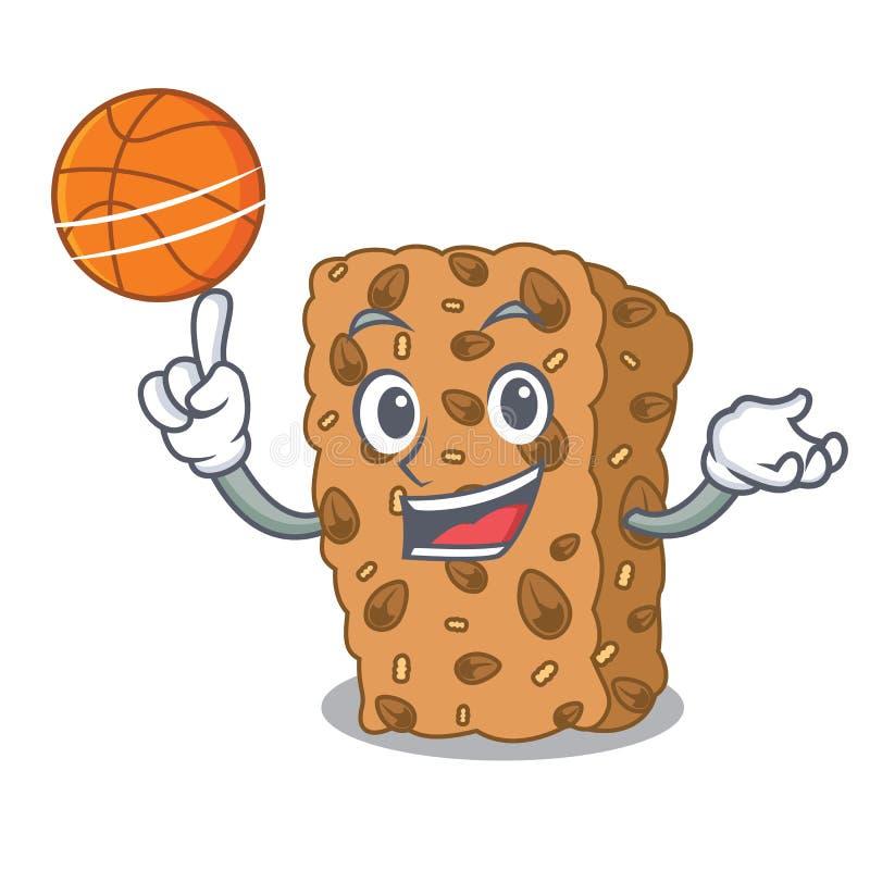 Con il fumetto del carattere della barra di granola di pallacanestro royalty illustrazione gratis