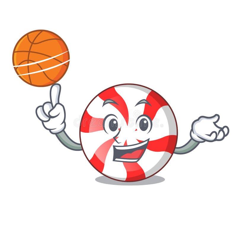 Con il fumetto del carattere della caramella di menta piperita di pallacanestro illustrazione di stock
