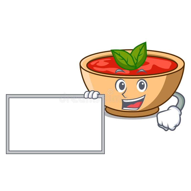 Con il fumetto del carattere della minestra del pomodoro del bordo royalty illustrazione gratis