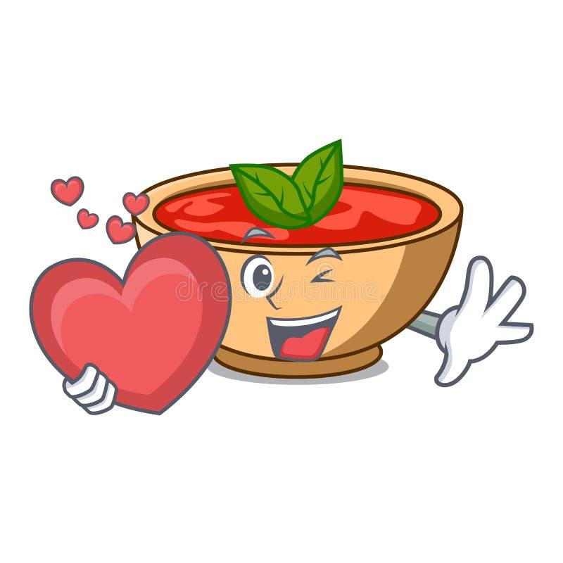 Con il fumetto del carattere della minestra del pomodoro del cuore illustrazione di stock