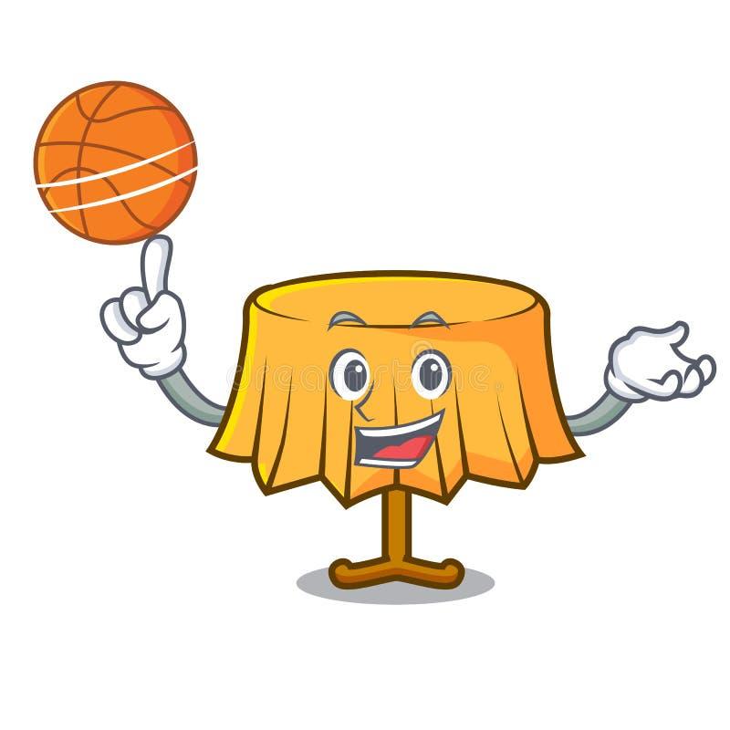 Con il fumetto del carattere della tovaglia di pallacanestro illustrazione vettoriale