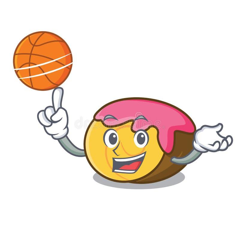 Con il fumetto del carattere dello swiss roll di pallacanestro illustrazione di stock