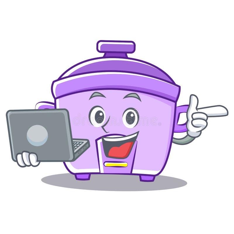 Con il fumetto del carattere del fornello di riso del computer portatile illustrazione di stock