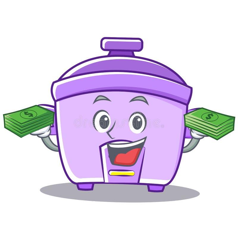 Con il fumetto del carattere del fornello di riso dei soldi illustrazione di stock