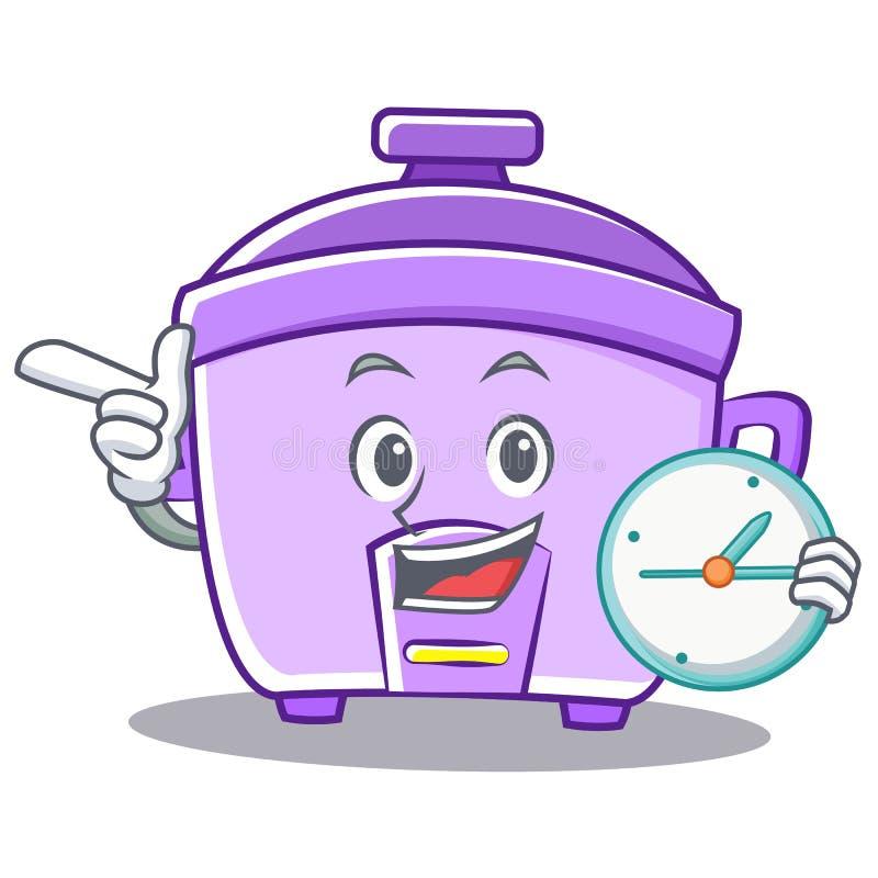 Con il fumetto del carattere del fornello di riso dell'orologio illustrazione vettoriale