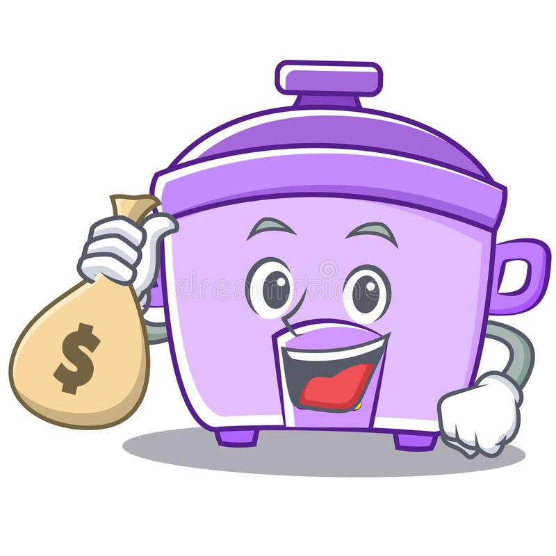 Con il fumetto del carattere del fornello di riso della borsa dei soldi illustrazione di stock