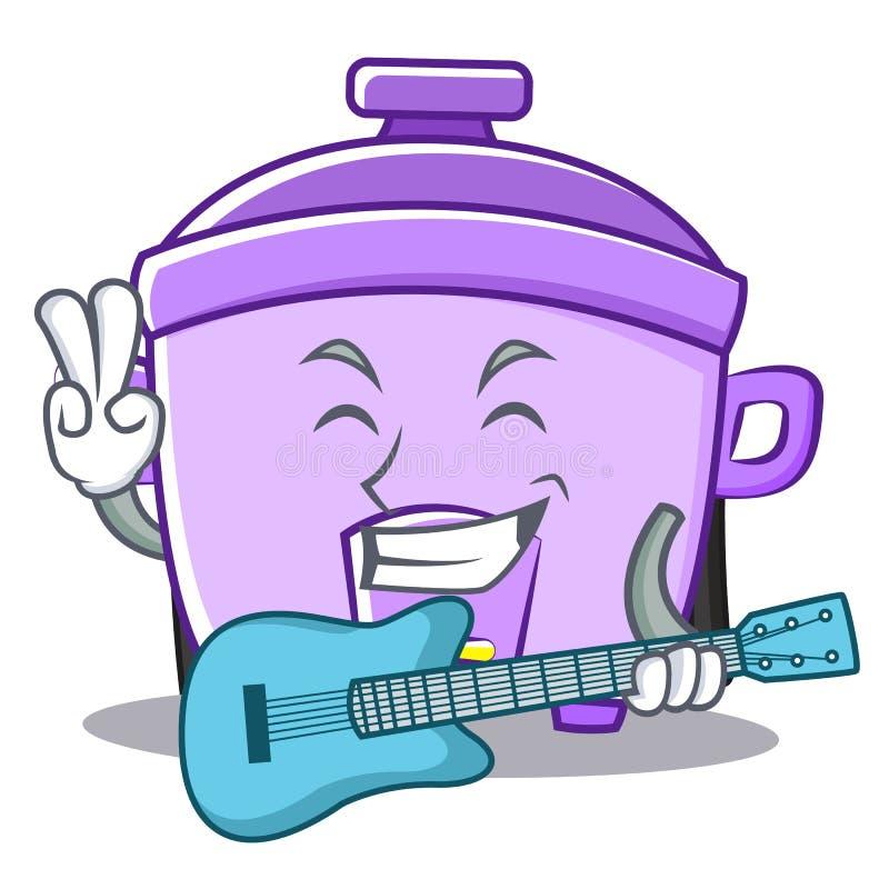 Con il fumetto del carattere del fornello di riso della chitarra illustrazione di stock