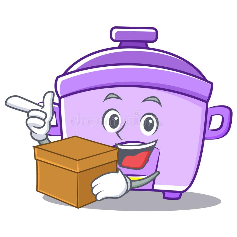Con il fumetto del carattere del fornello di riso della scatola royalty illustrazione gratis