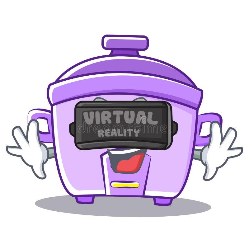 Con il fumetto del carattere del fornello di riso di realtà virtuale royalty illustrazione gratis
