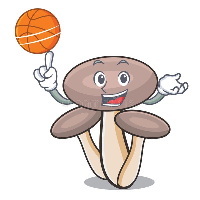 Con il fumetto del carattere del fungo dell'agarico del miele di pallacanestro illustrazione vettoriale
