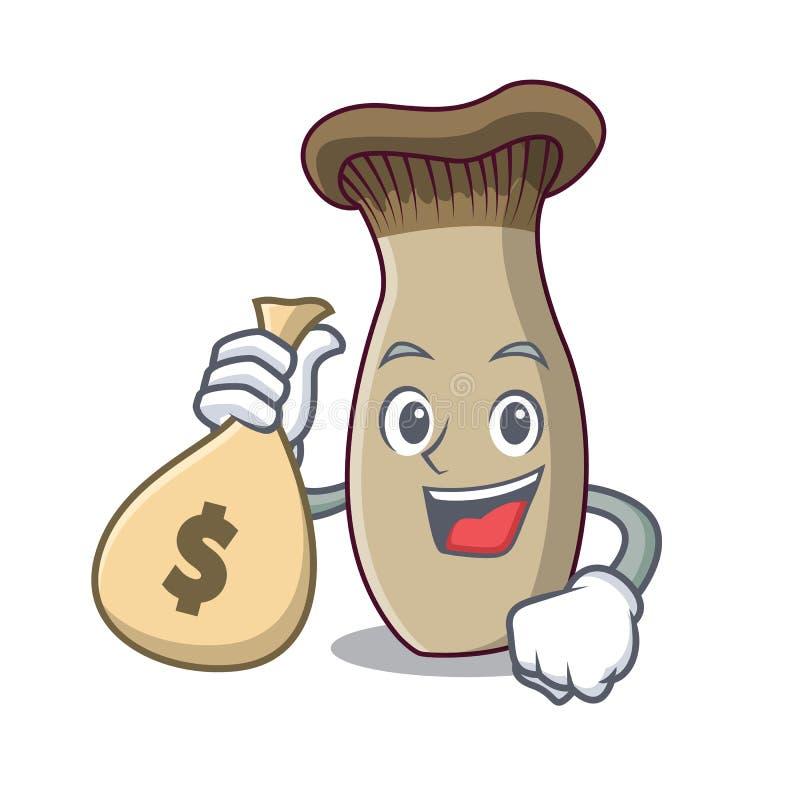 Con il fumetto del carattere del fungo della tromba di re della borsa dei soldi illustrazione di stock