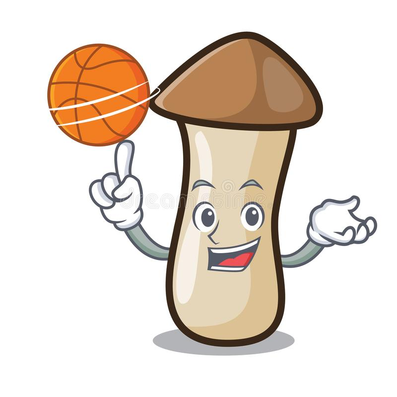 Con il fumetto del carattere del fungo di erynggi di pleurotus di pallacanestro royalty illustrazione gratis