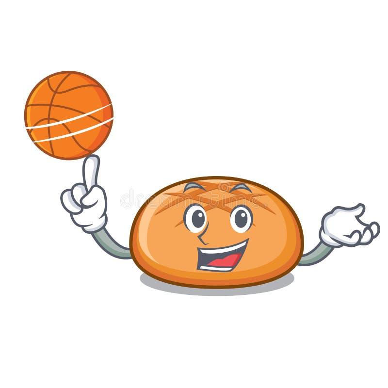 Con il fumetto del carattere del panino di hamburger di pallacanestro illustrazione di stock