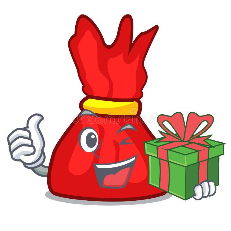 Con il fumetto della mascotte della caramella dell'involucro del regalo royalty illustrazione gratis