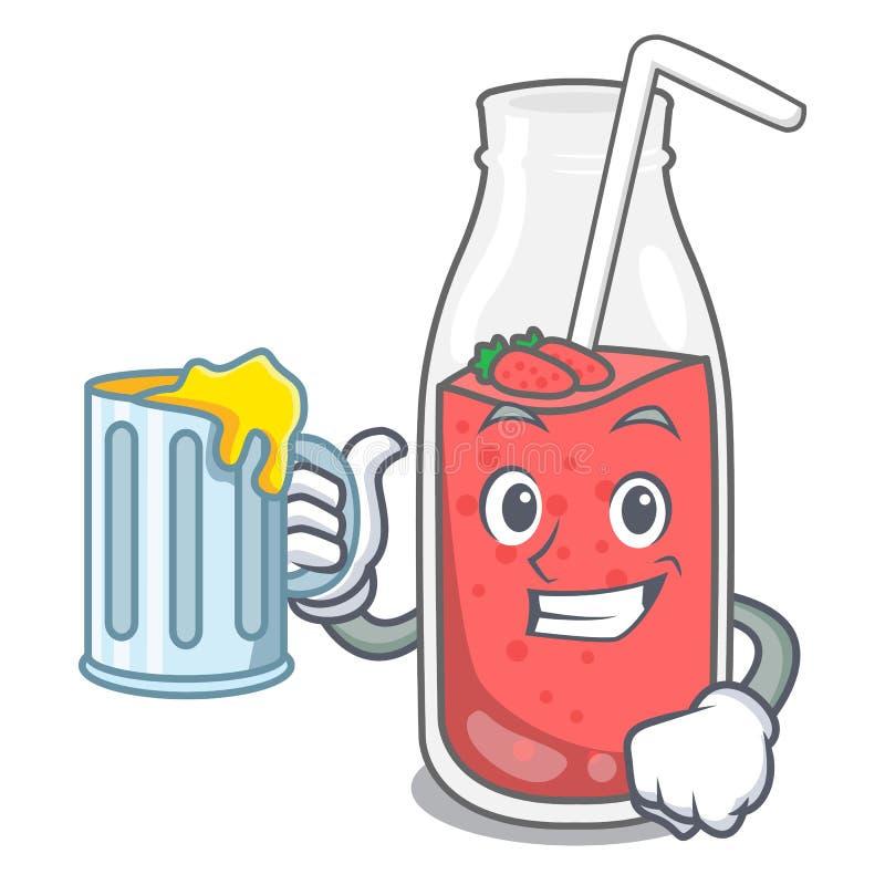 Con il fumetto della mascotte del frullato della fragola del succo illustrazione vettoriale