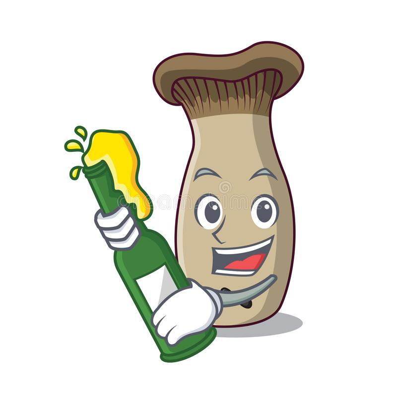 Con il fumetto della mascotte del fungo della tromba di re della birra royalty illustrazione gratis
