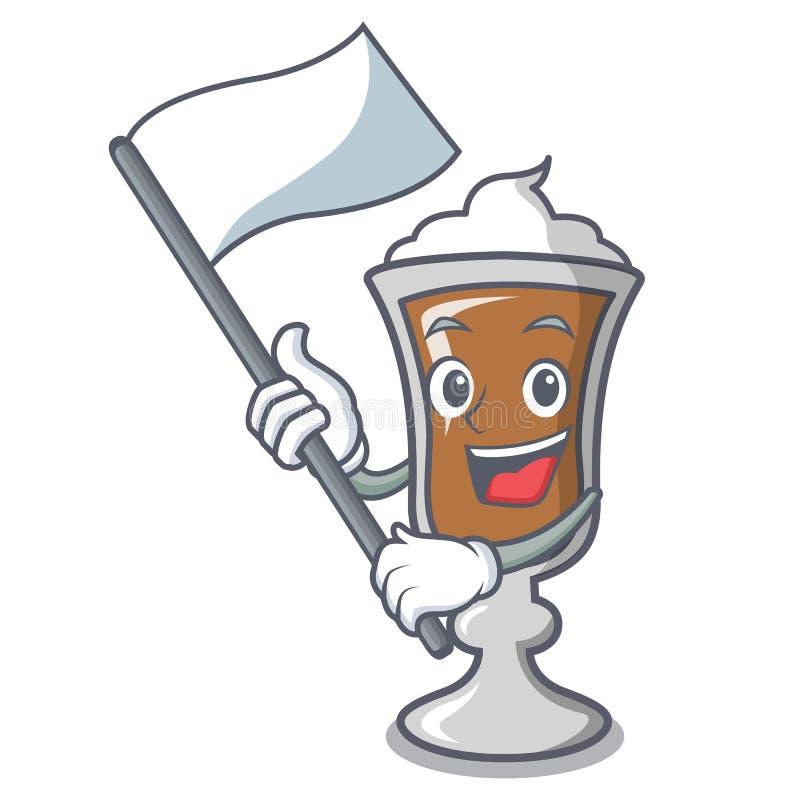 Con il fumetto della mascotte dell'irish coffee della bandiera illustrazione vettoriale