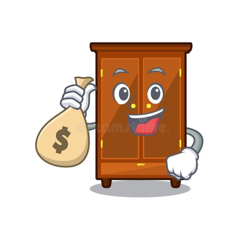 Con il guardaroba della borsa dei soldi nella camera da letto della mascotte di a royalty illustrazione gratis