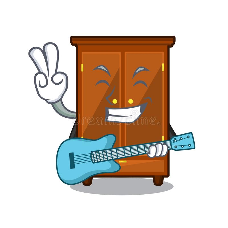 Con il guardaroba della chitarra isolato nel fumetto di a illustrazione di stock