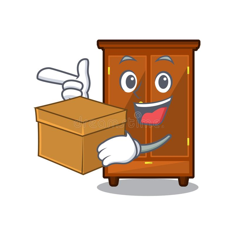 Con il guardaroba della scatola nella forma di carattere di a illustrazione di stock