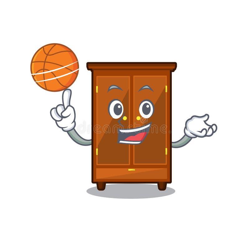 Con il guardaroba di pallacanestro nella camera da letto della mascotte di a illustrazione di stock