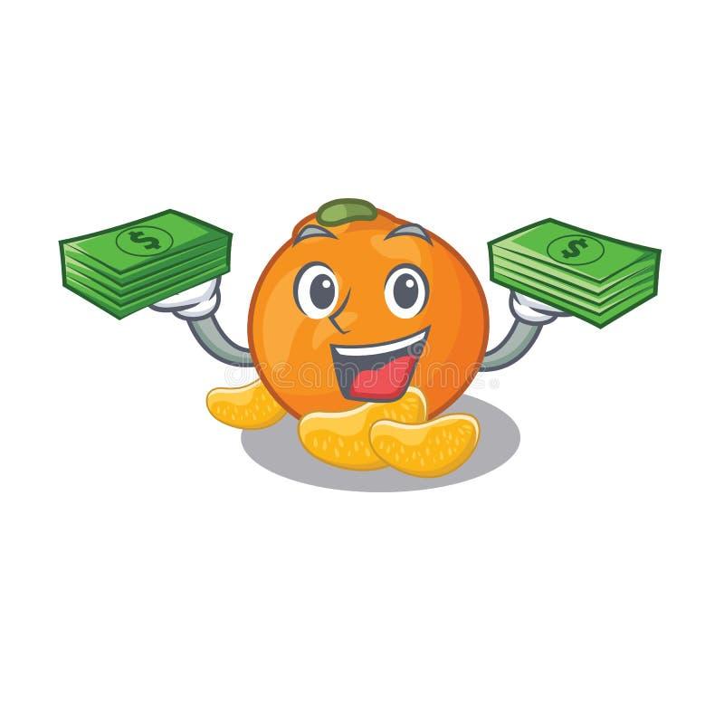 Con il mandarino della borsa dei soldi con nella forma della mascotte illustrazione di stock