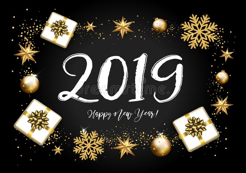 2019 con il Natale dorato stars, regalo, segnante su un BAC nero royalty illustrazione gratis
