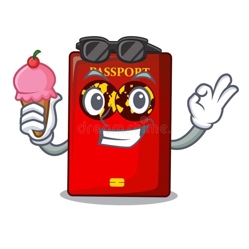 Con il passaporto rosso del gelato nella borsa del fumetto illustrazione vettoriale