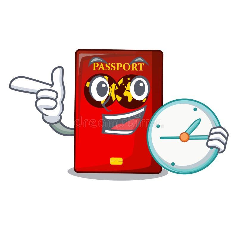 Con il passaporto rosso dell'orologio nella borsa del fumetto illustrazione di stock