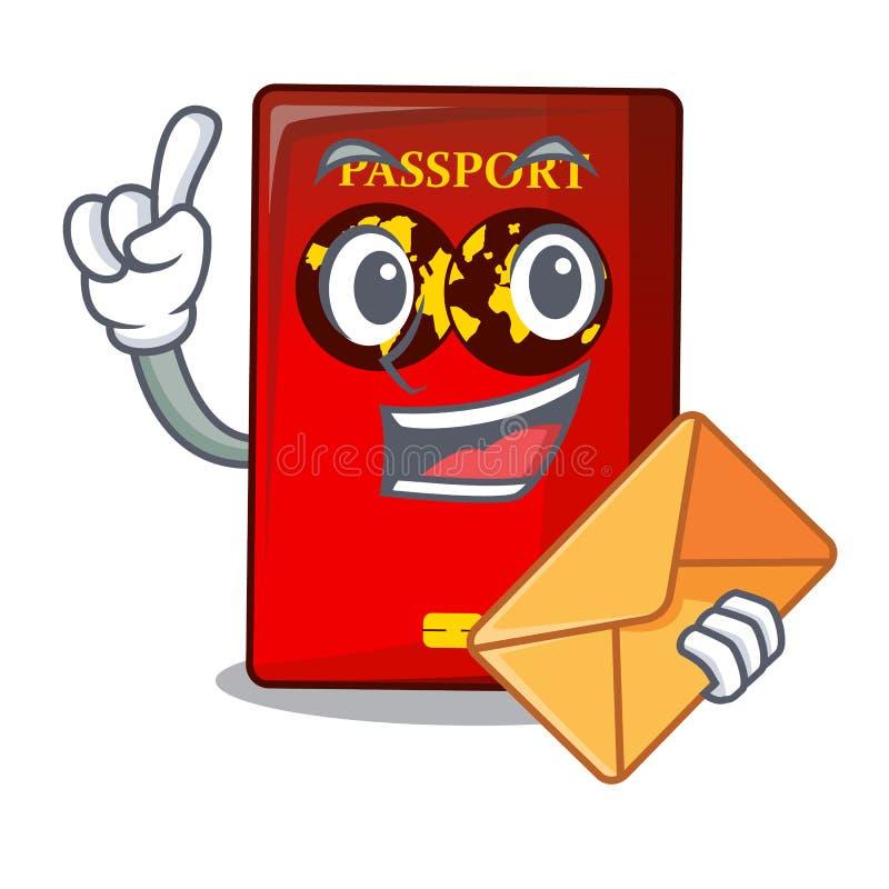 Con il passaporto rosso della busta nella borsa del fumetto illustrazione di stock