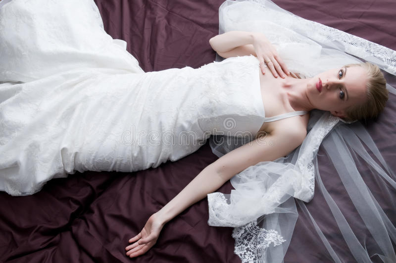 Con Il Vestito Da Cerimonia Nuziale Fotografia Stock Libera da Diritti