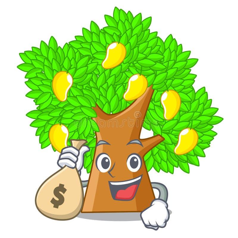 Con l'albero di mango della borsa dei soldi isolato con la mascotte illustrazione vettoriale