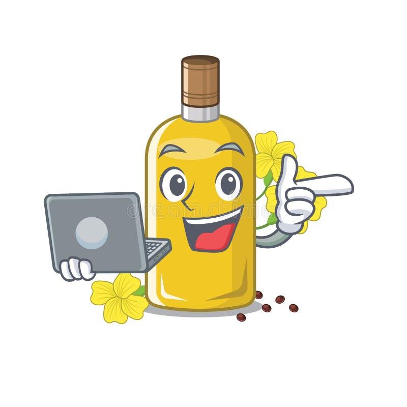 Con l'olio del canola del computer portatile isolato con il fumetto illustrazione di stock