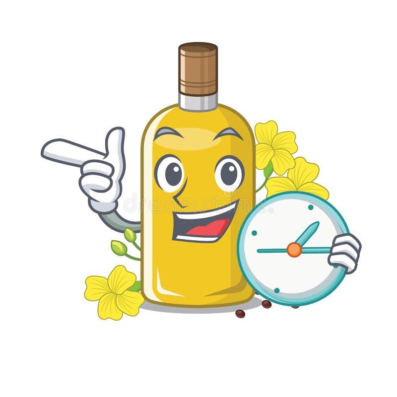 Con l'olio del canola dell'orologio nella forma della mascotte illustrazione di stock