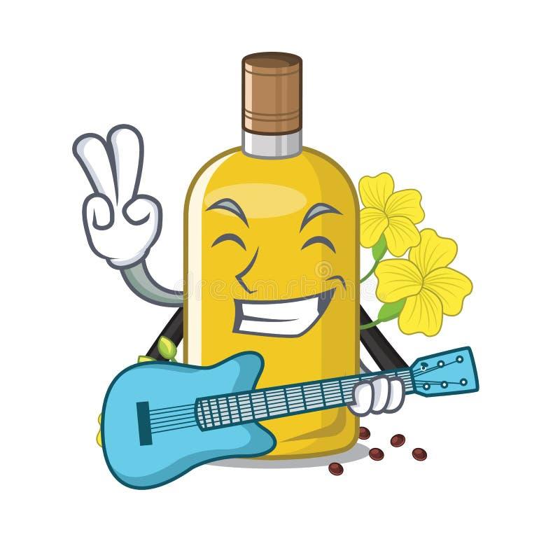 Con l'olio del canola della chitarra sopra il carattere della sedia illustrazione di stock
