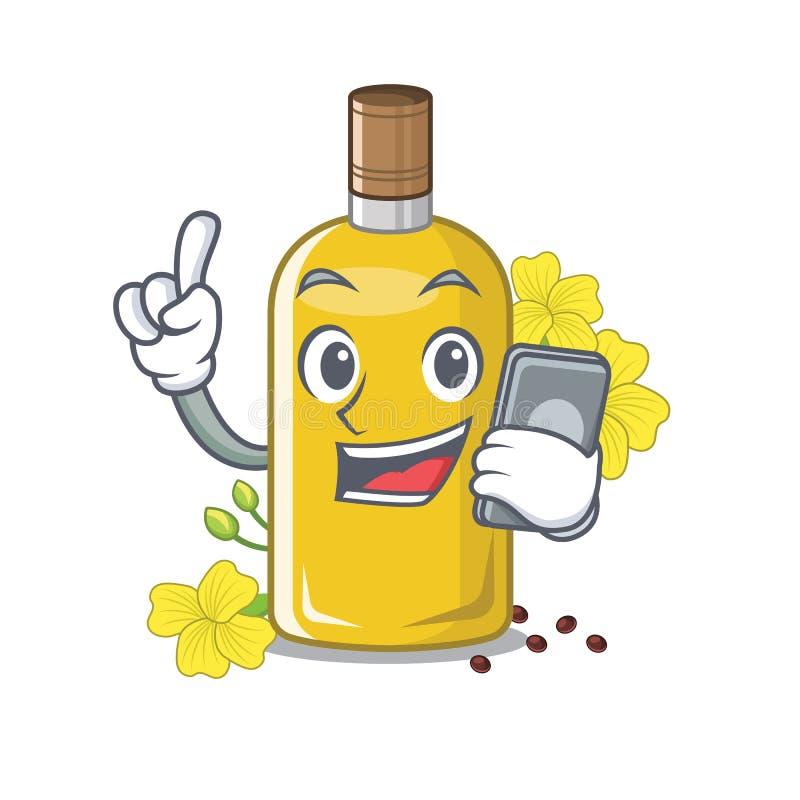 Con l'olio del canola del telefono isolato con il fumetto illustrazione vettoriale