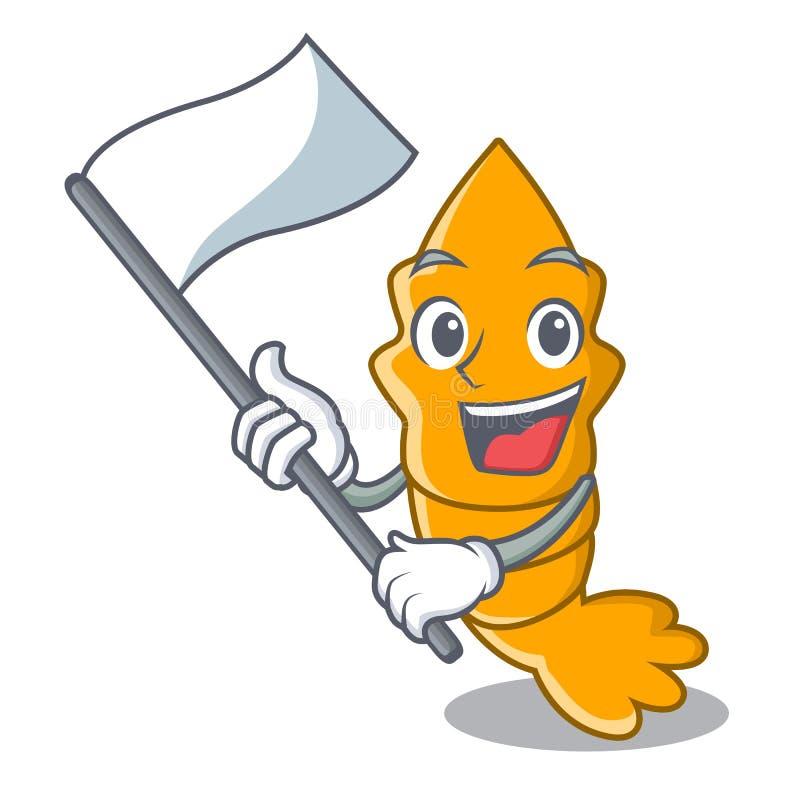 Con la bandiera gamberetto crudo fresco cotto a vapore sul fumetto della mascotte royalty illustrazione gratis