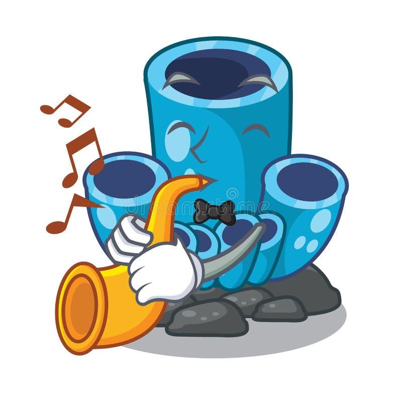 Con la esponja azul de la trompeta coralina aisló la mascota stock de ilustración