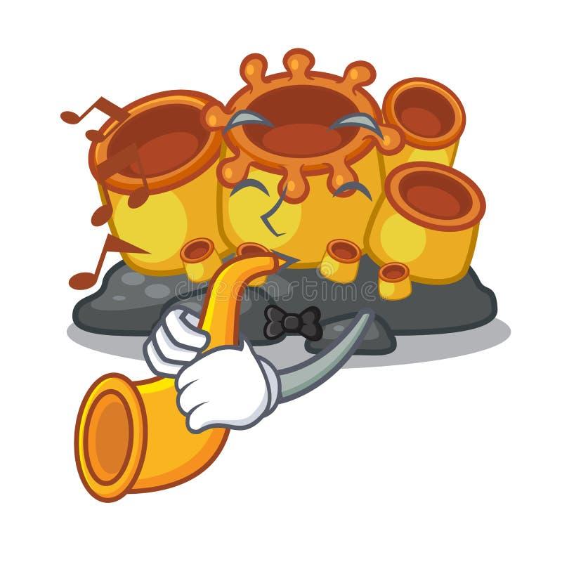 Con la historieta coralina de la esponja anaranjada de la trompeta en el mar stock de ilustración