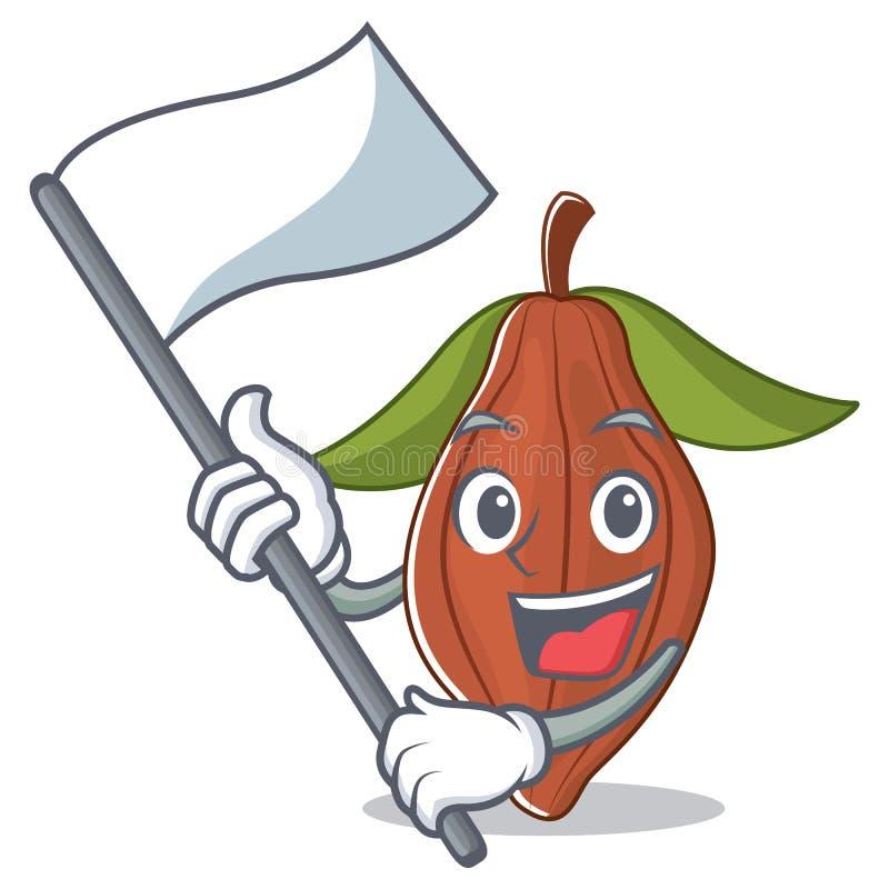 Con la historieta de la mascota de la haba del cacao de la bandera stock de ilustración
